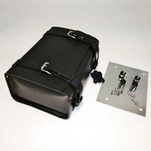 Unit Garage Rear Luggage Leather Bag - Black