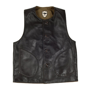 [엘솔리타리오]El Solitario<br>Macone Leather Vest - Lightweight Olive